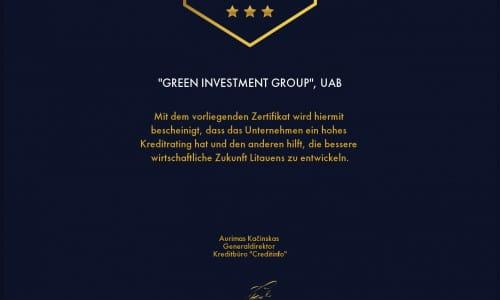 """Kreditų biuro CREDITINFO sertifikatas """"Stipriausi Lietuvoje 2020"""""""